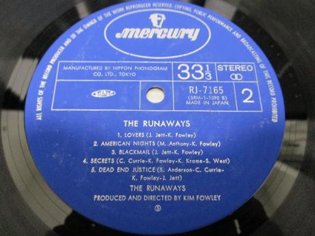 Runaways 1st S/T Same Title Japan Orig. LP DIF LIVE COVER