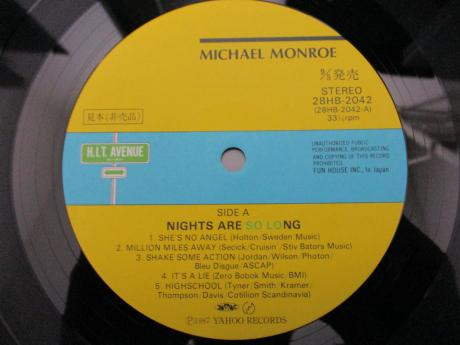 Michael Monroe Nights Are So Long Japan PROMO LP OBI POSTER